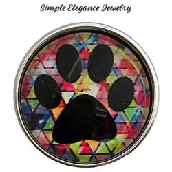 Multi Colored Paw Print Snap Charm 20mm for Snap Jewelry - Snap Jewelry