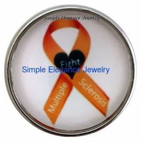 Multiple Sclerosis Orange Ribbon Snap 20mm - Snap Jewelry