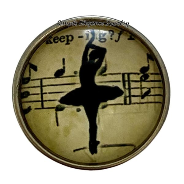 Music Ballet Snap Charms 20mm - 1 - Snap Jewelry