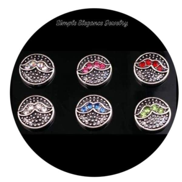 Mustache Rhinestone 12mm MINI for Snap Charm Jewelry - Irridescent MINI - Snap Jewelry