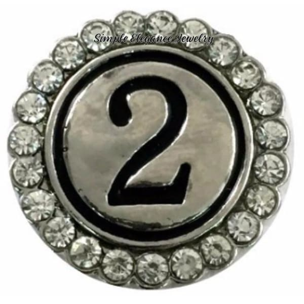 Number Snaps (0-9 To Choose From) Rhinestone Snap Charm 20mm - 2 - Snap Jewelry