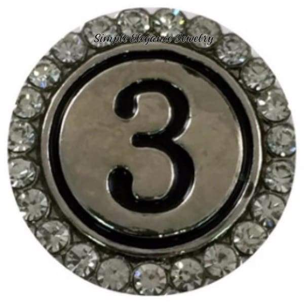 Number Snaps (0-9 To Choose From) Rhinestone Snap Charm 20mm - 3 - Snap Jewelry