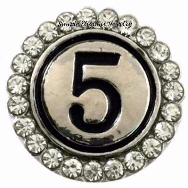 Number Snaps (0-9 To Choose From) Rhinestone Snap Charm 20mm - 5 - Snap Jewelry