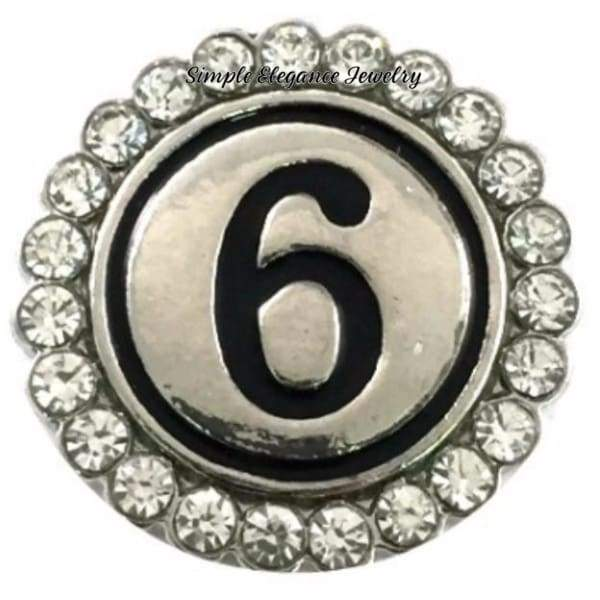 Number Snaps (0-9 To Choose From) Rhinestone Snap Charm 20mm - 6 or 9 - Snap Jewelry