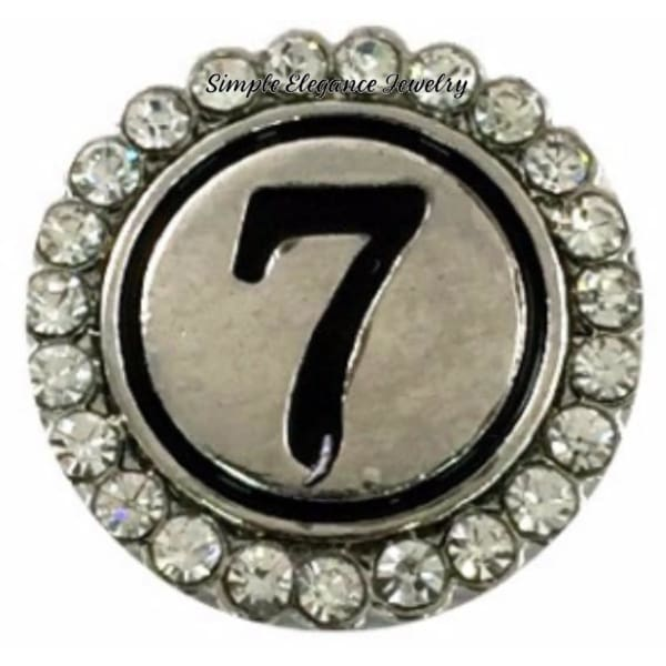 Number Snaps (0-9 To Choose From) Rhinestone Snap Charm 20mm - 7 - Snap Jewelry
