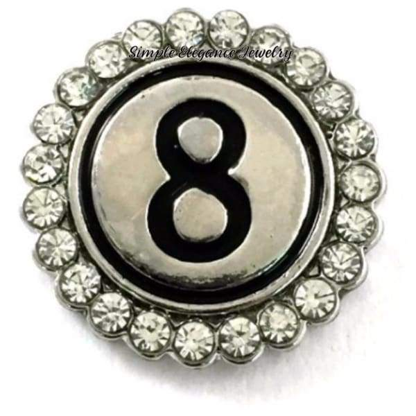 Number Snaps (0-9 To Choose From) Rhinestone Snap Charm 20mm - 8 - Snap Jewelry