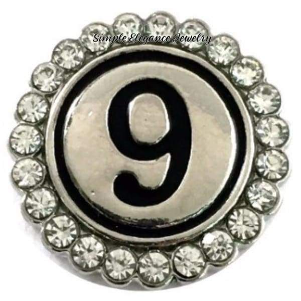 Number Snaps (0-9 To Choose From) Rhinestone Snap Charm 20mm - 9 - Snap Jewelry