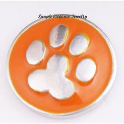 Orange Metal Paw Snap Charm 20mm for Snap Charm Jewelry - Snap Jewelry