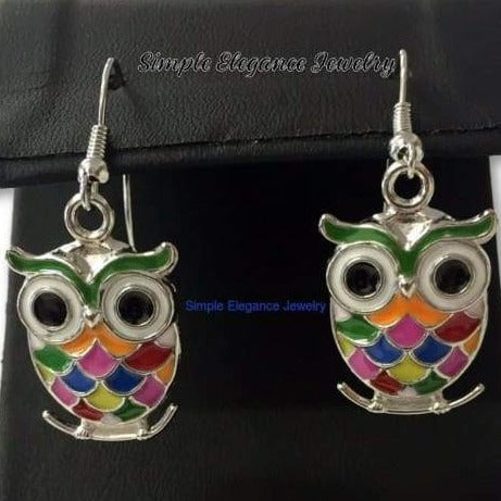 Owl Earrings-Multi Colored Enamel Owl Earrings - Earrings