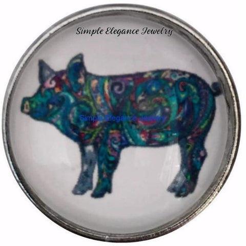 Painted Pig Snap Charm 20mm for Snap Jewelry - Snap Jewelry