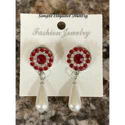Pear Drop with Red Rhinestone Snaps - Snap Jewelry
