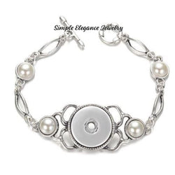Pearl Accent Single Snap Bracelet 20mm Snaps - Snap Jewelry