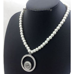 Pearl and Rhinestone Snap Necklace 20mm Snap - Snap Jewelry