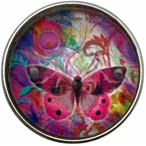 Pink Butterfly Snap Charm 20mm for Snap Jewelry - Snap Jewelry