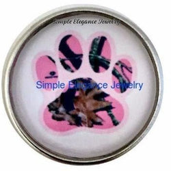 Pink Camo Paw Snap 20mm - Snap Jewelry