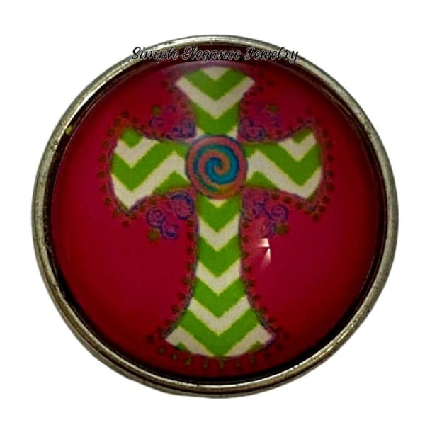 Pink Chevron Lime Cross Snap Charm 20mm - Snap Jewelry