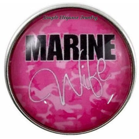 Pink Marine Wife Snap 20mm for Snap Jewelry - Snap Jewelry