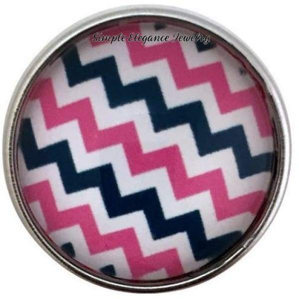 Pink-Navy Chevron Snap 20mm for Snap Jewelry - Snap Jewelry