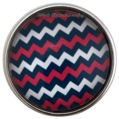 Pink-Navy Chevron Snap Charm 20mm for Snap Jewelry - Snap Jewelry