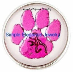 Pink Paw Print Snap 20mm for Snap Jewelry - Snap Jewelry