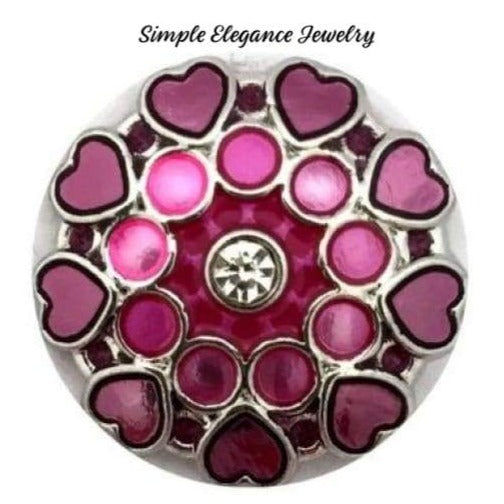 Pink- Purple Metal Heart Snap 20mm for Snap Jewelry - Snap Jewelry