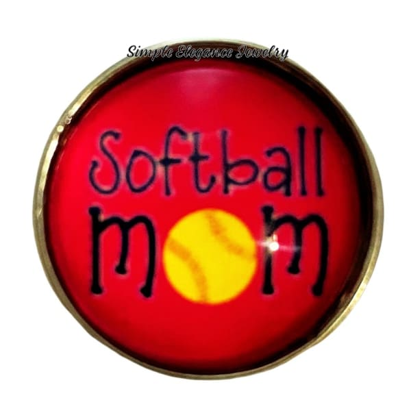 Pink Softball Mom Snap Charm 20mm - Snap Jewelry