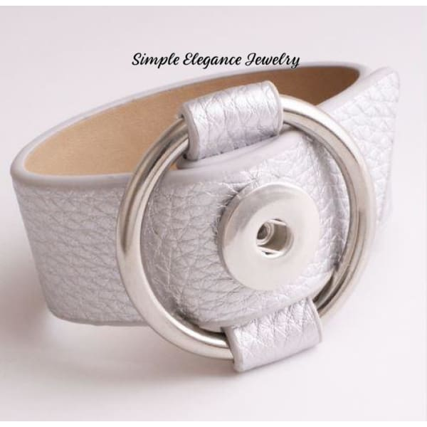 PU Buckle Style Snap Bracelet-3 Colors - Silver - Snap Jewelry