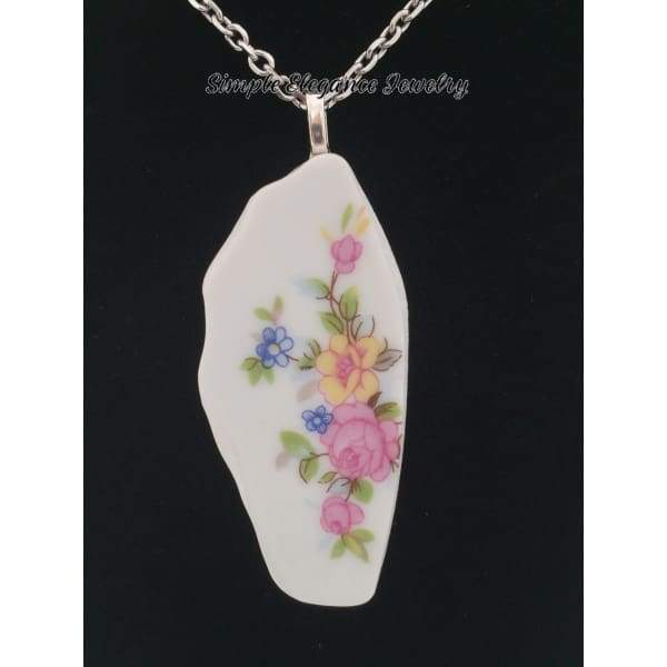 Recycled Broken China Floral Necklace - Broken China Jewelry