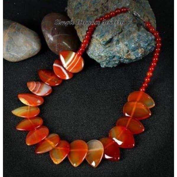 Red Agate Onxy Necklace - Natural Stone Necklaces