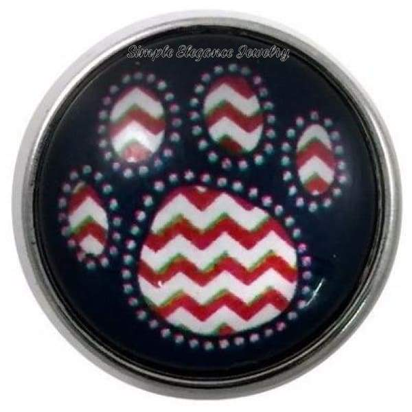 Red Chevron Paw Print Snap 20mm for Snap Jewelry - Snap Jewelry
