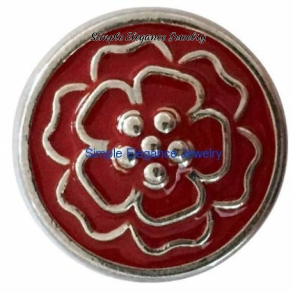 Red Metal Flower Snap 20mm for Snap Charm Jewelry - Snap Jewelry