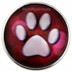 Red Paw Print Snap Charm 20mm for Snap Jewelry - Snap Jewelry