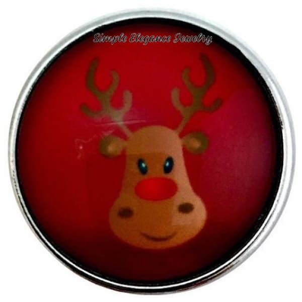 Red Reindeer Snap 20mm for Snap Jewelry - Snap Jewelry