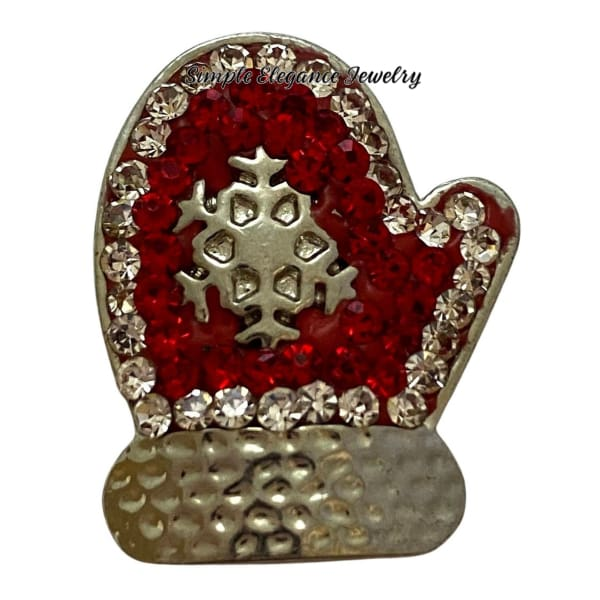 Red Rhinestone Christmas Mitten Snap Charm 20mm - Snap Jewelry