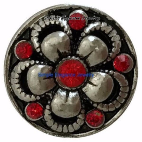 Red Rhinestone Metal Flower Snap (July Birthstone) - Snap Jewelry