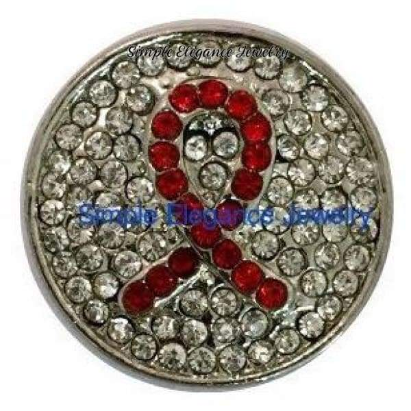 Red Ribbon Bling Snap Charm 20mm for Snap Charm Jewelry (154) - Snap Jewelry