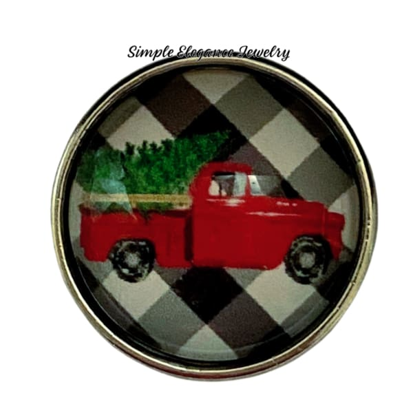 Red Truck Christmas Tree Snap Charm 20mm - Snap Jewelry