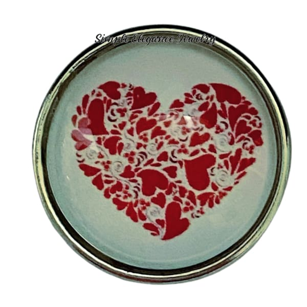 Red Valentine Heart Snap Charm 20mm - Snap Jewelry