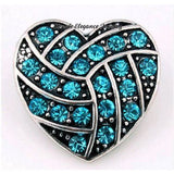 Rhinestone Birthstone Heart Snap 20mm - Turquoise - Snap Jewelry