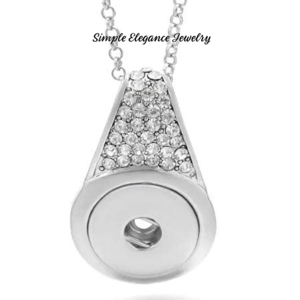 Rhinestone Drop Snap Necklace 20mm Snap - Snap Jewelry