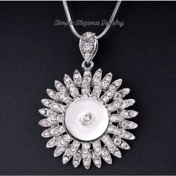 Rhinestone Encrusted Stacked Flower Snap Necklace 20mm - Snap Jewelry