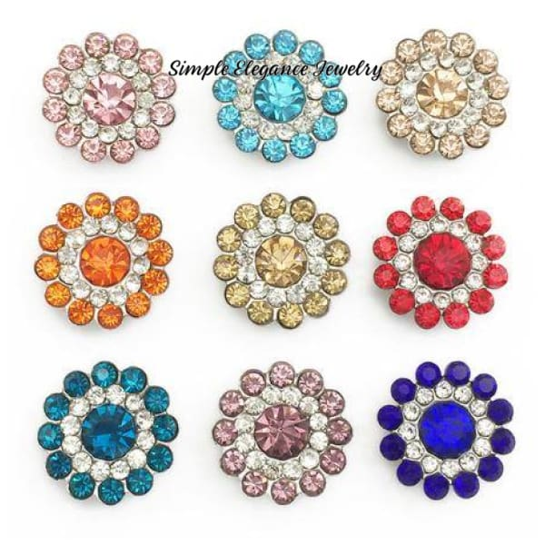 Rhinestone Flower 12mm MINI for Snap Charm Jewelry - Light Pink - Snap Jewelry