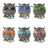 Rhinestone Metal Owl Snap 20mm for Snap Charm Jewelry - Snap Jewelry