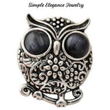 Rhinestone Metal Owl Snap 20mm for Snap Charm Jewelry - Black - Snap Jewelry