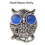 Rhinestone Metal Owl Snap 20mm for Snap Charm Jewelry - Blue - Snap Jewelry
