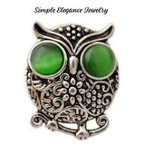 Rhinestone Metal Owl Snap 20mm for Snap Charm Jewelry - Green - Snap Jewelry