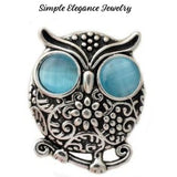 Rhinestone Metal Owl Snap 20mm for Snap Charm Jewelry - Turquoise - Snap Jewelry