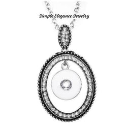Rhinestone Oval Center Dangle Drop Snap Necklace 20mm - Snap Jewelry