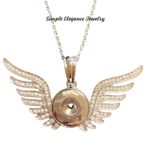 Rhinestone Wings Snap Charm 20mm - Snap Jewelry