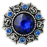 Rose Accent Rhinestone Metal Snap 20mm - Blue - Snap Jewelry